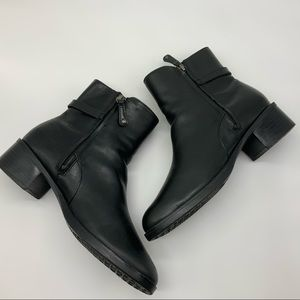ROCKPORT ADDISON BLACK LEATHER ANKLE BOOTS
